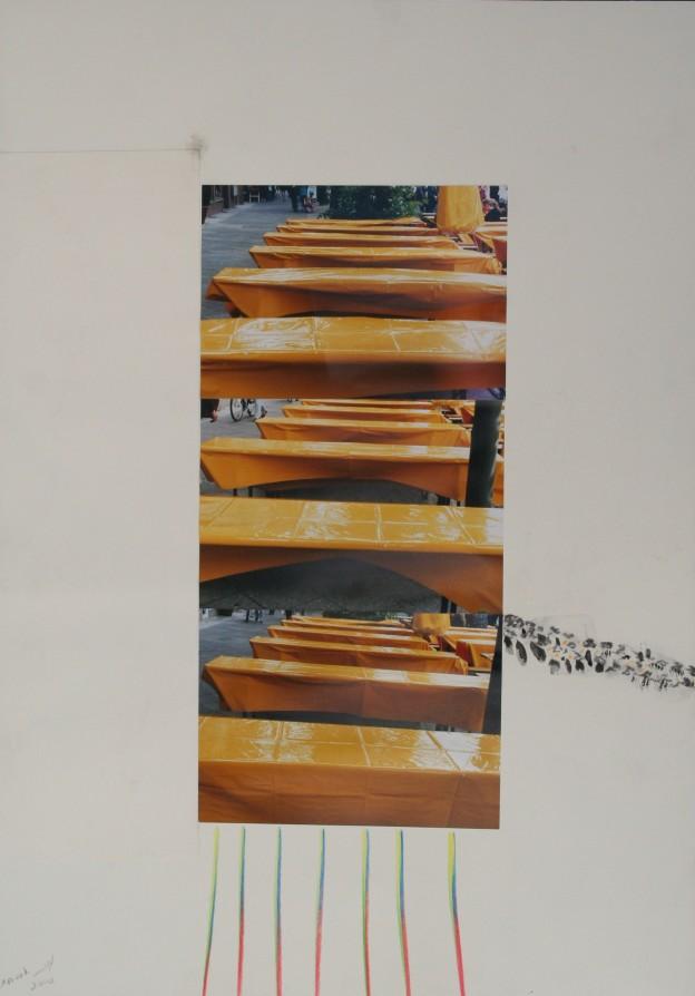 Collage mit gelber Tischdecke